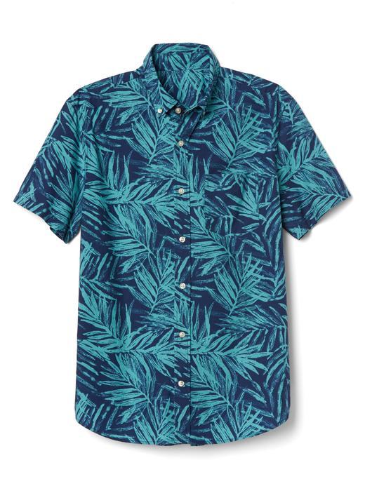 Erkek palmiye yeşili Palmiye desenli kısa kollu gömlek
