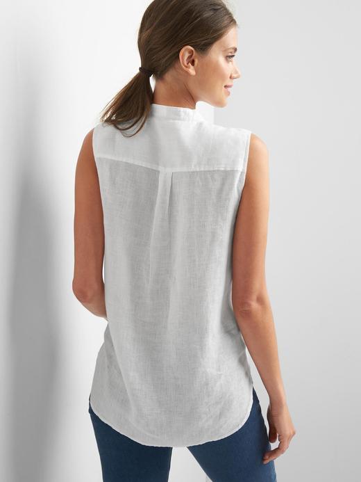 Keten kolsuz önden bağlamalı gömlek