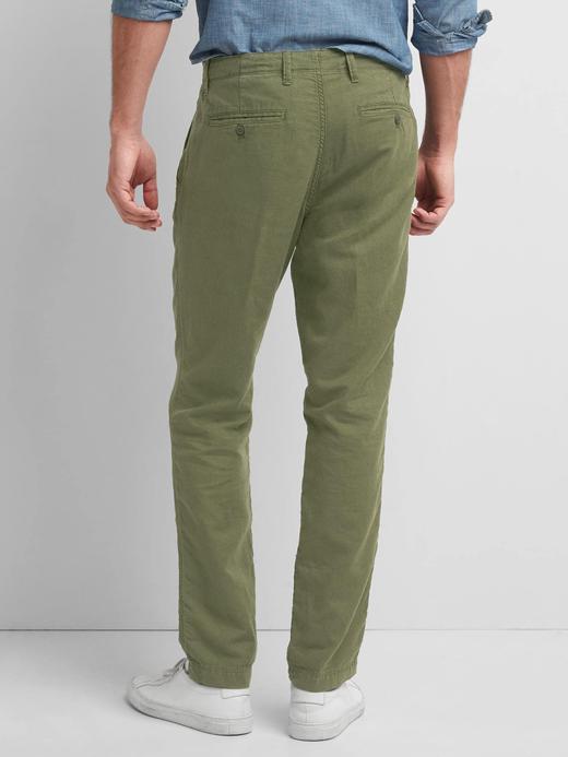 Keten-pamuk slim fit pantolon