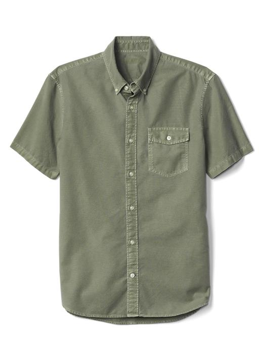 Erkek Mavi Oxford standart fit kısa kollu gömlek