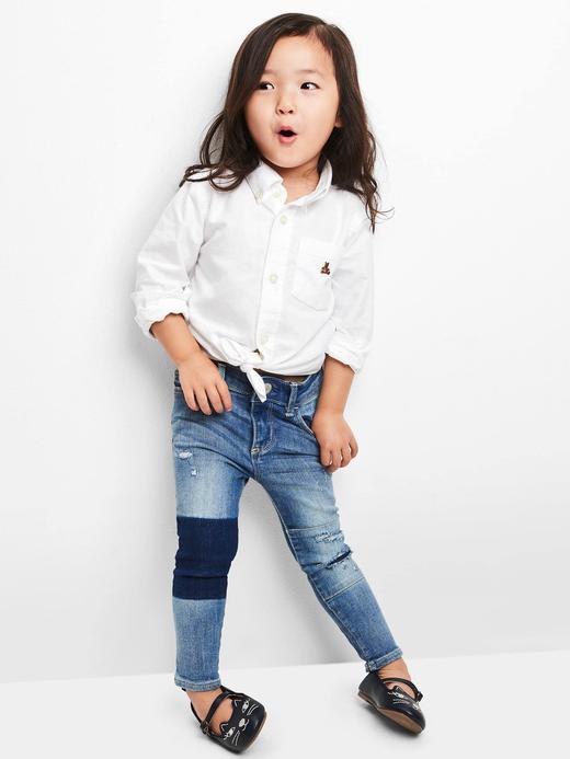 açık renk yıkama Streç rip & repair skinny jean pantolon