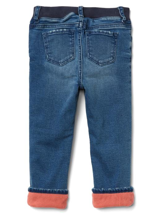 orta yıkama İçi koyun yünlü düz paça jean pantolon