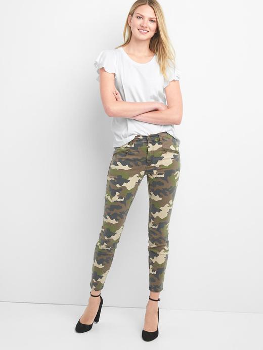 yeşil Orta belli kamuflaj desenli true skinny jean pantolon