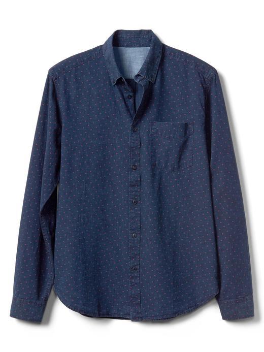 Standart fit puantiyeli denim gömlek