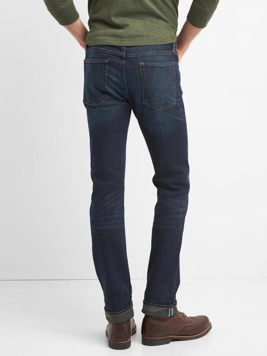 koyu indigo Straight fit streçli jean pantolon