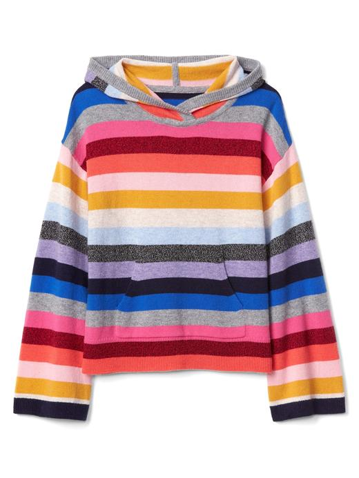 Çizgili kapüşonlu sweatshirt