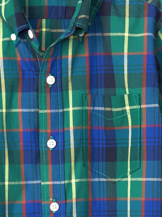 yeşil Ekoseli düğmeli poplin gömlek