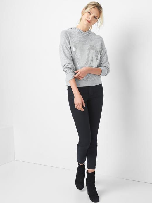 Kadın gümüş Softspun pul detaylı sweatshirt