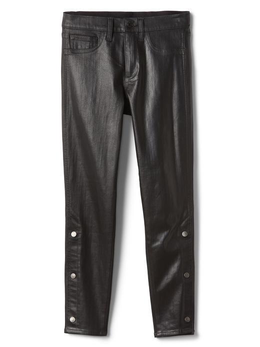 Orta bel düğmeli jegging pantolon