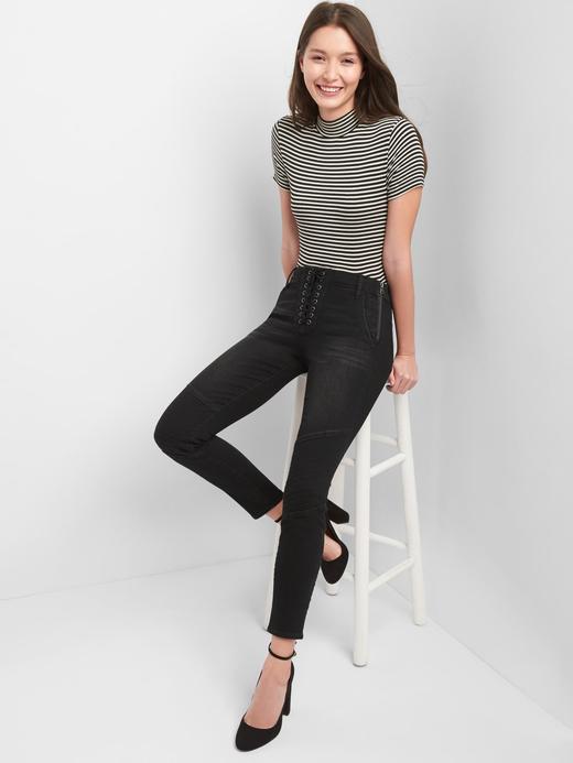Orta belli ture skinny jean pantolon