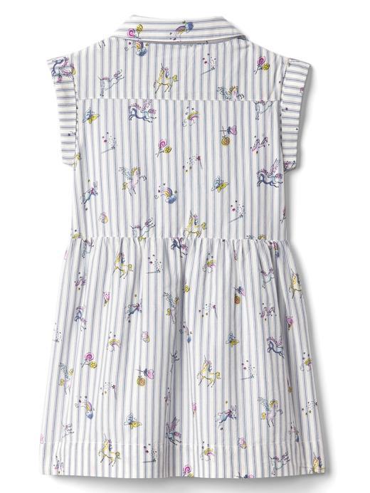 Bebek mavi çizgili Desenli gömlek elbise