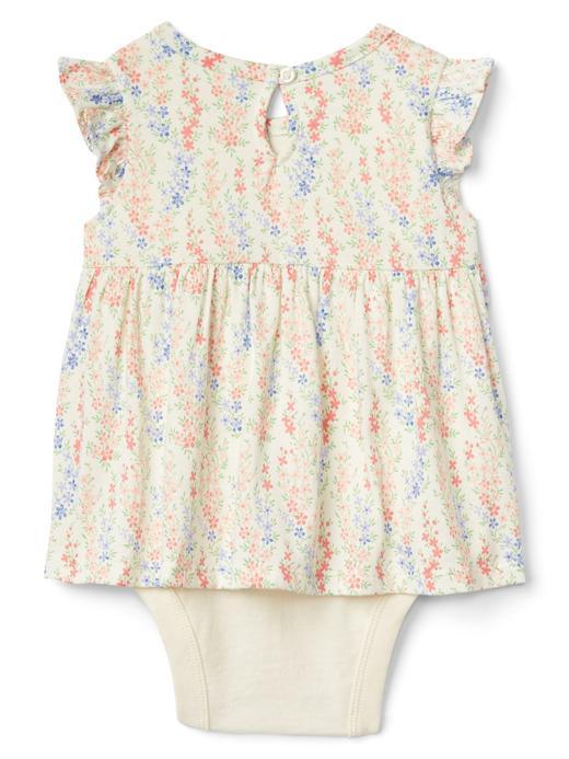 Bebek renkli Çiçek desenli fırfır kollu body