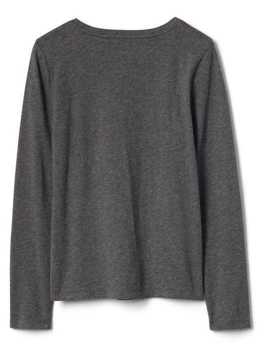 kırçıllı gri Pırıltılı grafik desenli uzun kollu t-shirt