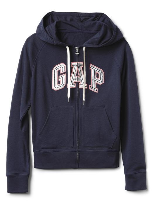 Metalik logolu fermuarlı fransız havlu kumaşı sweatshirt