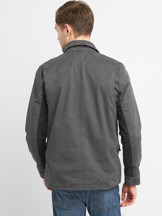 haki İç astarı desenli cepli ceket