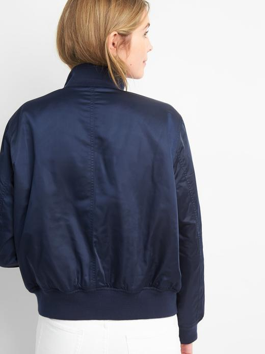 Suya dayanıklı saten bomber ceket