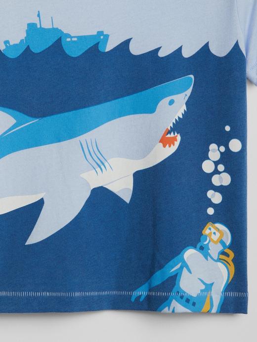 Bebek mavi Grafik desenli kısa kollu t-shirt