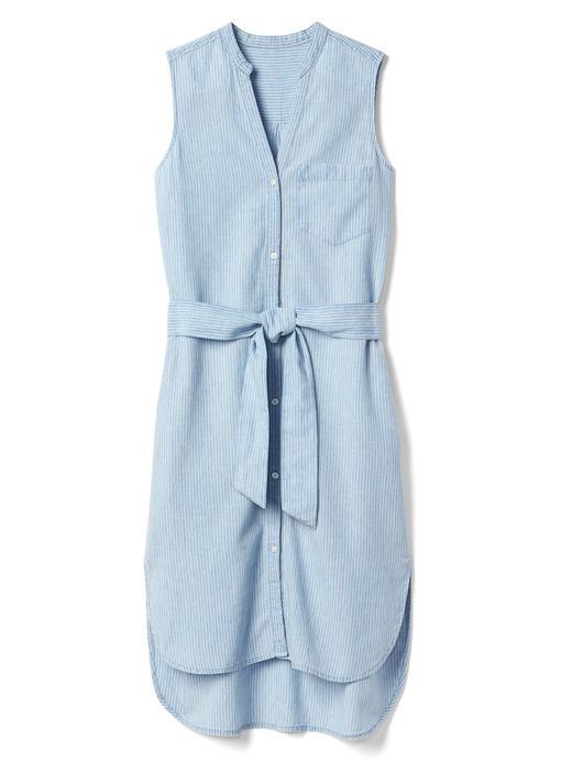 Keten-pamuk karışımlı çizgili elbise