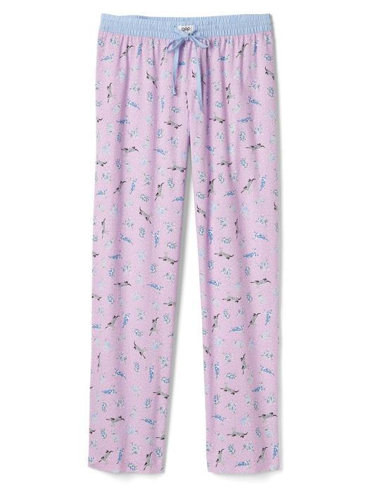 Kadın beyaz Poplin desenli pijama altı