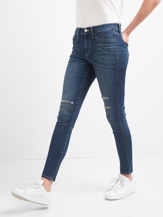 Kadın Koyu indigo Orta Belli Yırtık Detaylı Jegging Jean Tayt Pantolon