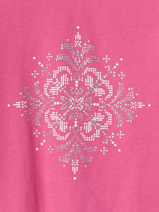 İşlemeli grafik desenli uzun kollu t-shirt