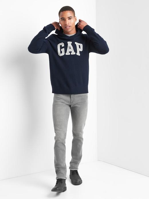 Erkek lacivert Merino yün karışımlı logolu sweatshirt