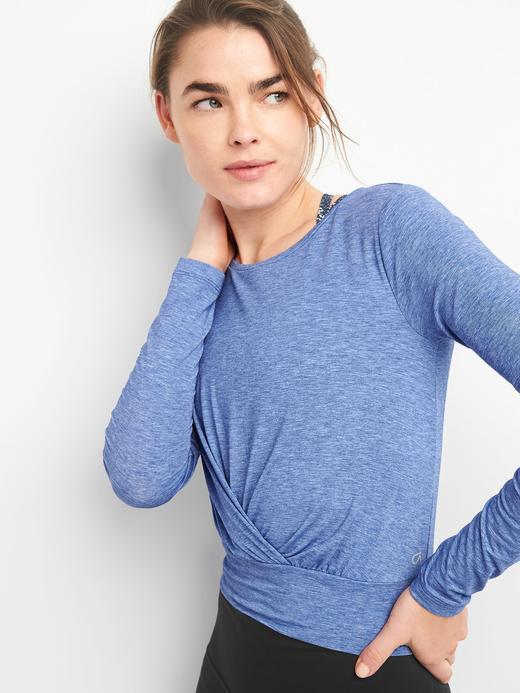 GapFit nefes alabilir uzun kollu kısa t-shirt