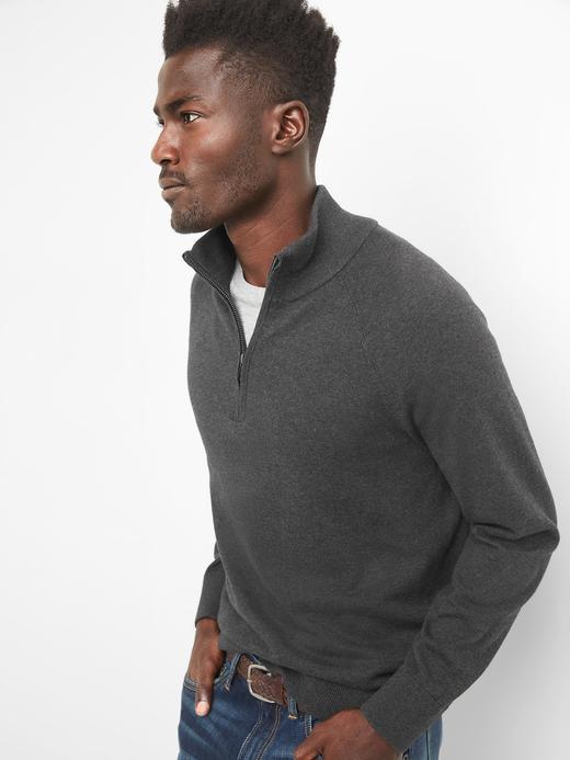 Yarım fermuarlı pamuklu sweatshirt
