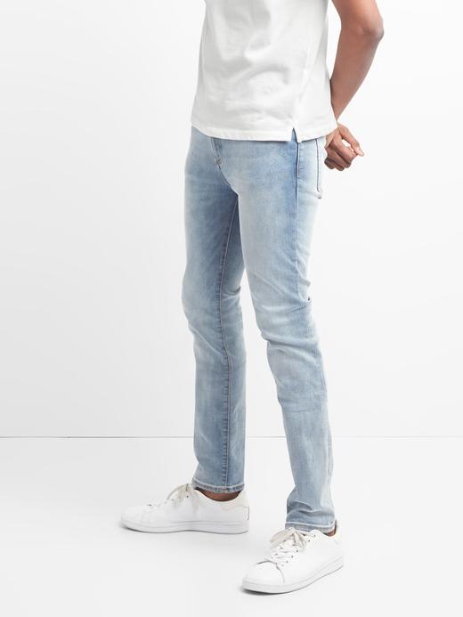 Erkek açık indigo Washwell Light Indigo skinny fit GapFlex jean pantolon