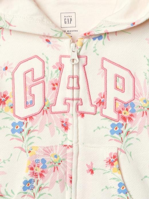 Logolu çiçek desenli ayıcık kapüşonlu sweatshirt