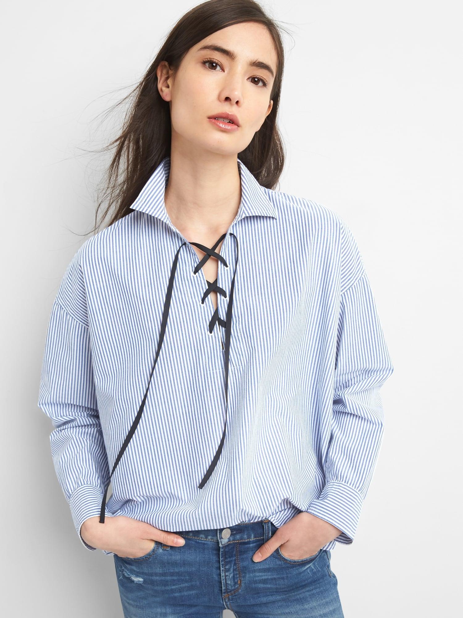 26cefa0d9e10d Kadin Mavi/beyaz Çizgili Çizgili polin gömlek 308844268 | GAP