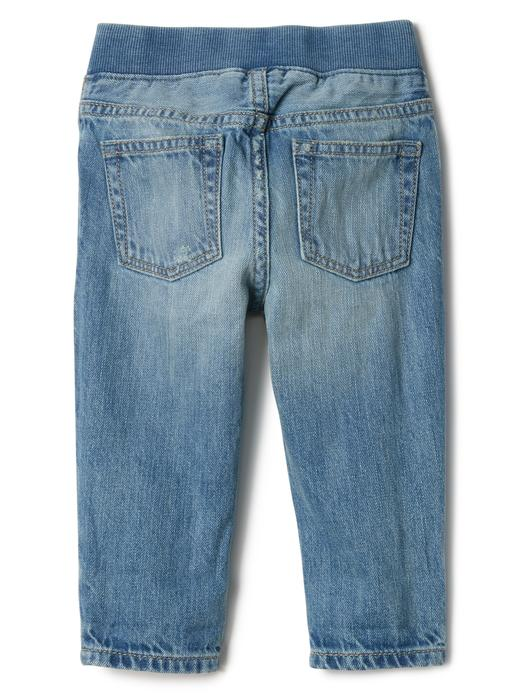 Grafik desenli easy slim fit jean pantolon