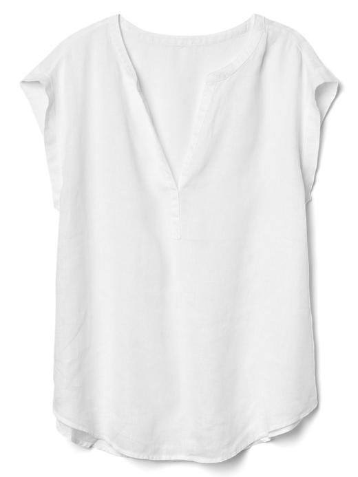 beyaz Kısa kollu keten gömlek