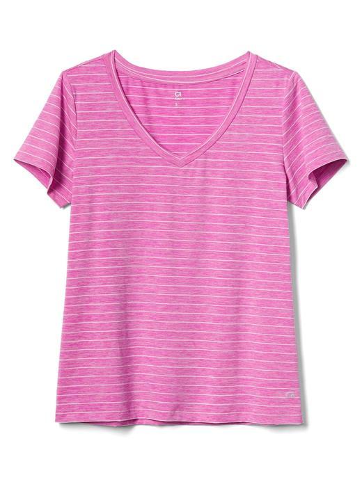 Çizgili V yaka t-shirt