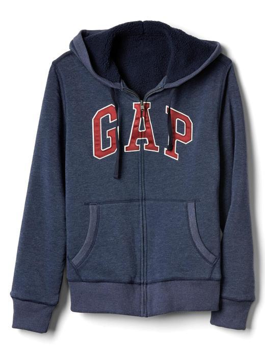 bordo Logolu polar kapüşonlu sweatshirt