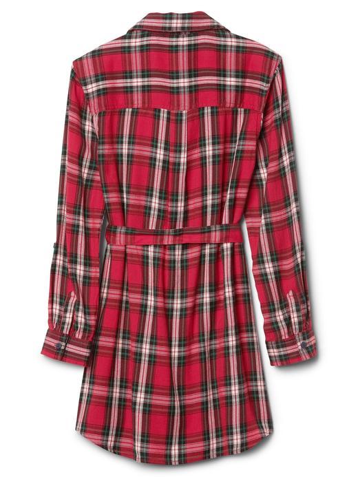 Ekoseli uzun kollu gömlek elbise