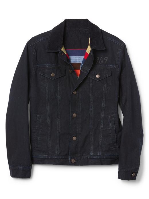 koyu yıkama Çizgili astarlı ceket