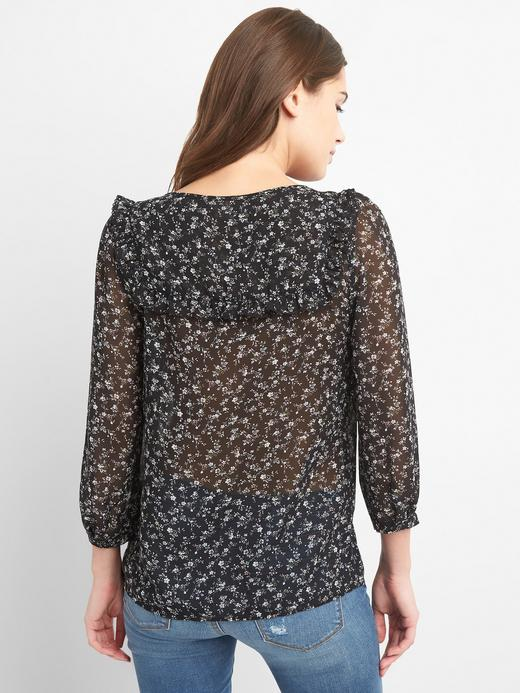 Siyah 3/4 kollu desenli bluz