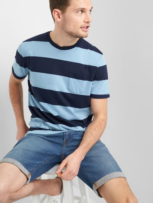 Kısa Kollu Çizgili Sıfır Yaka T-Shirt