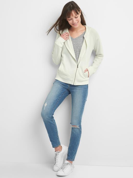 Asimetrik fermuarlı kapüşonlu sweatshirt