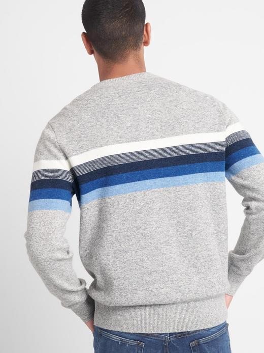 Erkek mavi çizgili Çizgili sıfır yaka kazak