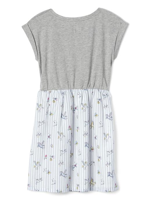 Kız Çocuk gri Unicorn desenli elbise