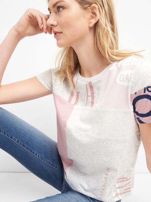 pembe Logo remix kısa kollu t-shirt