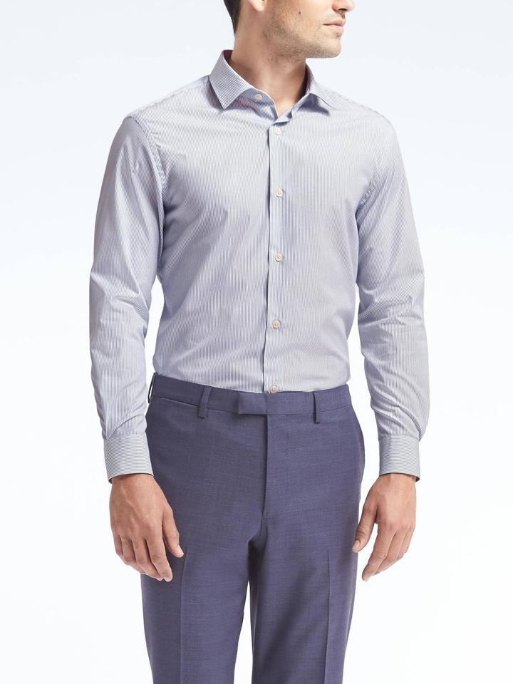 Erkek Mavi Grant Slim-Fit Ütü Gerektirmeyen Streç Gömlek