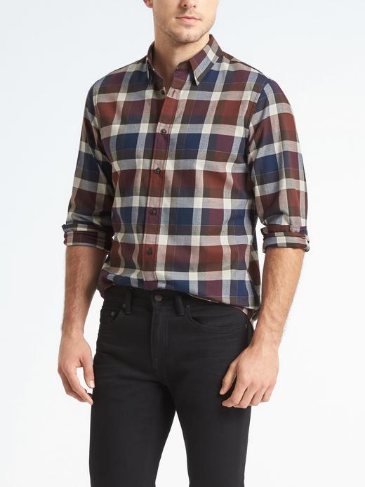 Erkek lacivert Camden Standard-Fit Ekoseli Gömlek