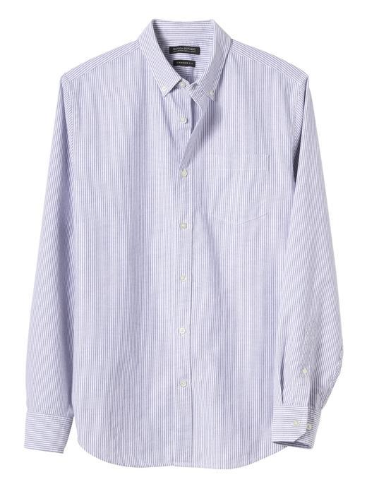Camden Standard-Fit Pamuklu-Streç Çizgili Oxford Gömlek