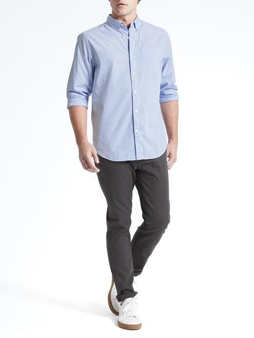Camden Standard-Fit Çizgili Pamuklu Streç Oxford Gömlek
