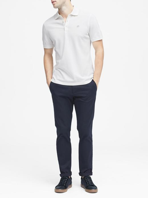 Erkek Beyaz Signature Piqué Polo Yaka T-Shirt