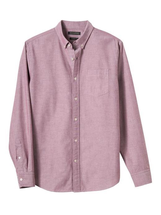 Erkek Mavi Camden Standard-Fit Pamuklu Streç Oxford Gömlek