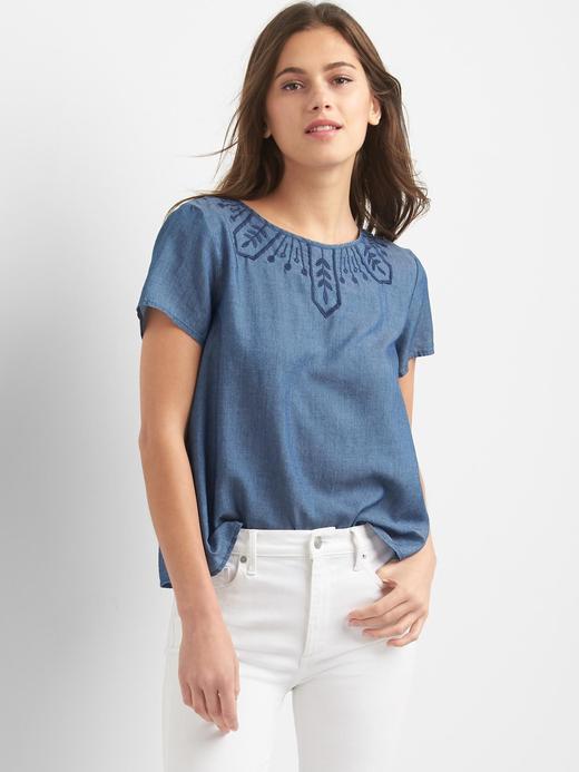 Tencel® işlemeli bluz